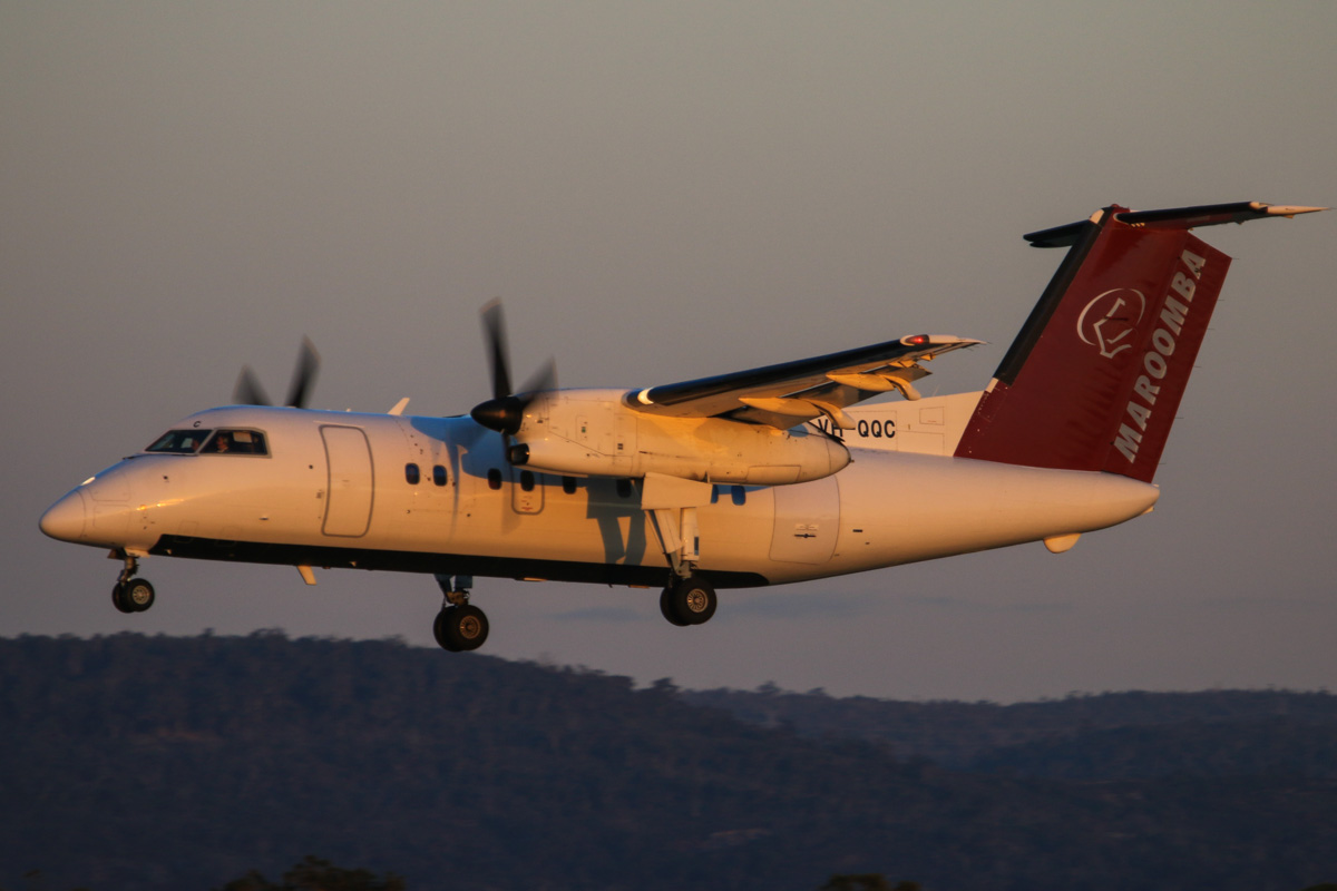 VH-QQC De Havilland Canada DHC-8-102 Dash 8 (MSN 008) of Maroomba Airlines (leased from Skytrans), at Perth Airport - Thu 17 July 2014. Arriving from Karara iron ore mine, landing on runway 03 at 17:21. Photo © David Eyre