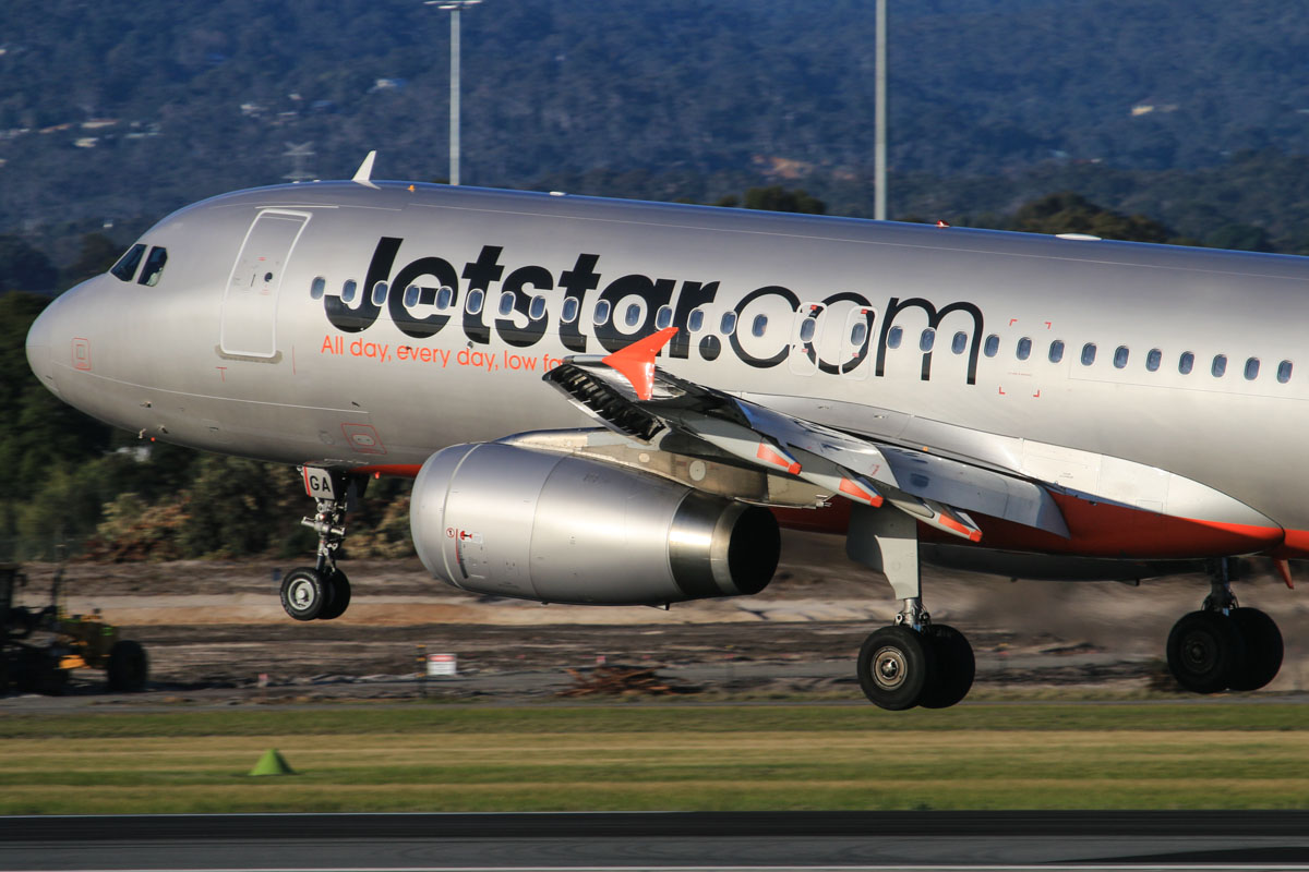 VH-VGA Airbus A320-232 (MSN 4899) of Jetstar, at Perth Airport - Thu 17 July 2014. Landing on runway 03 at 16:18, as flight JQ974 from Adelaide. Photo © David Eyre