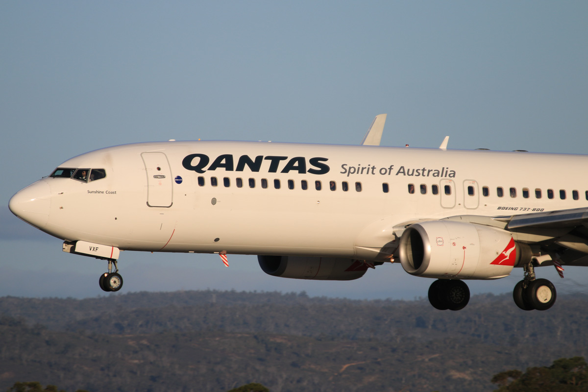 VH-VXF Boeing 737-838 (MSN 29553/1096) of Qantas, named 'Sunshine Coast', at Perth Airport - Thu 17 July 2014. Landing on runway 03 at 16:36 as QF585 from Adelaide. Photo © David Eyre