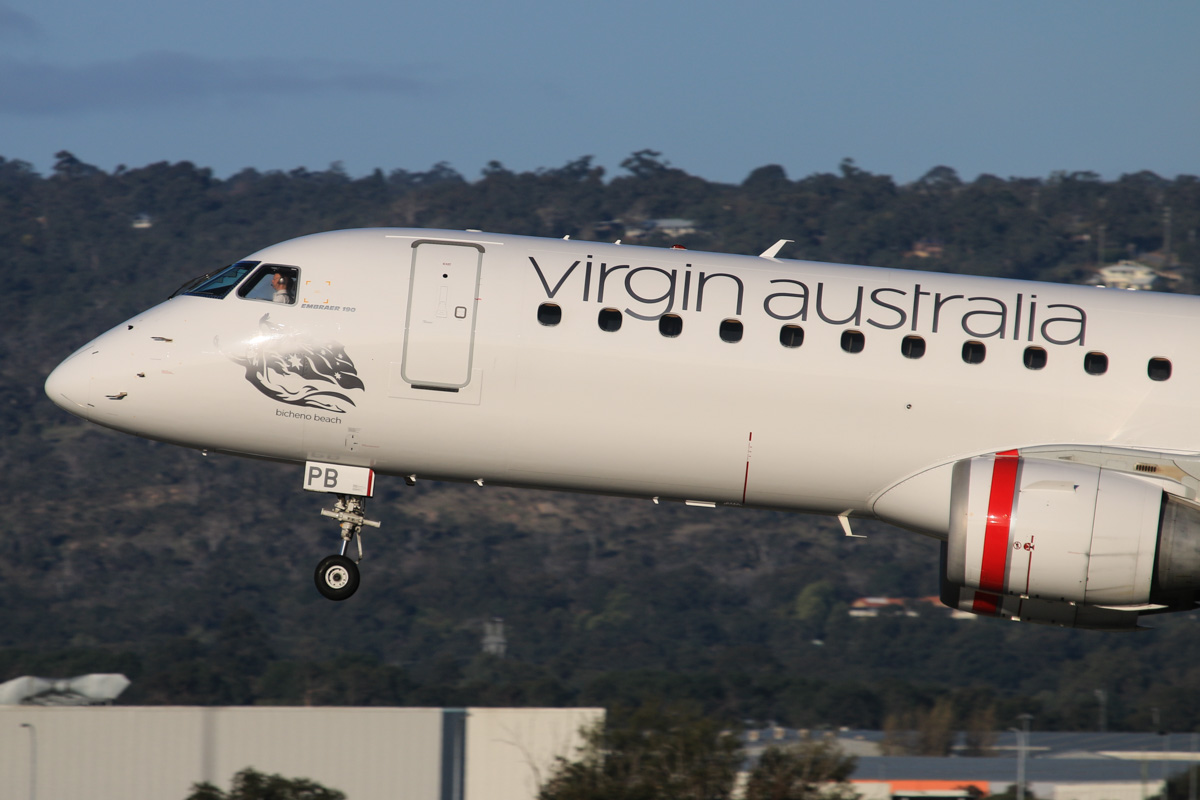 VH-ZPB Embraer 190AR (ERJ-190-100IGW) (MSN 19000162) of Virgin Australia, named 'Bicheno Beach', at Perth Airport - Thu 17 July 2014. Landing on runway 03 at 16:12 as VA1484 from Broome. Photo © David Eyre