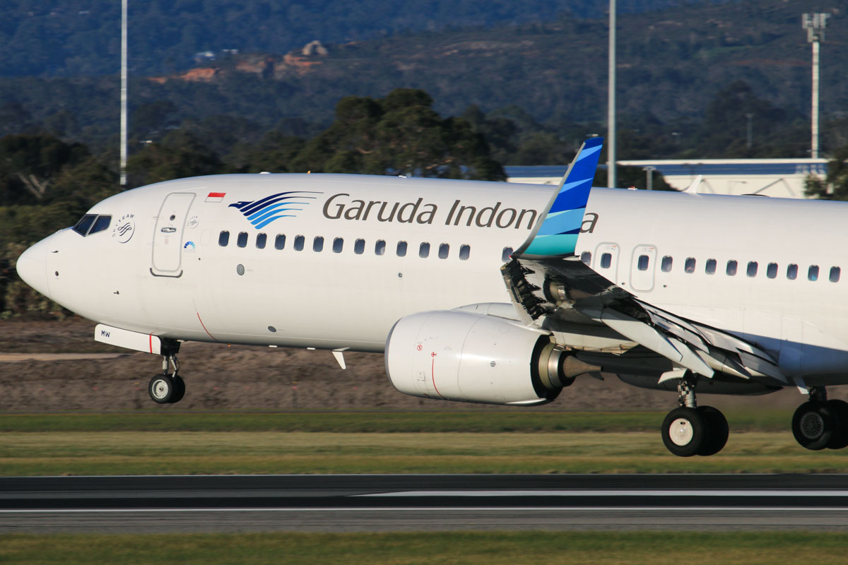 PK-GMW Boeing 737-8U3 (MSN 38069/4026) of Garuda Indonesia, at Perth Airport – Fri 18 July 2014. Landing on runway 03 as flight GA726 from Denpasar (Bali), at 16:33. Photo © David Eyre