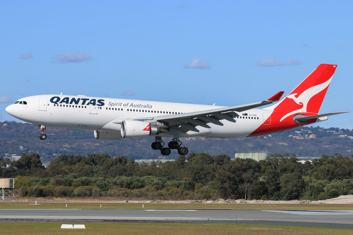 VH-EBR Airbus A330-203 (MSN 1251) of Qantas, named 'Lockyer Valley', at Perth Airport – Fri 18 July 2014. Landing on runway 03 at 14:13 as QF581 from Sydney . Photo © David Eyre