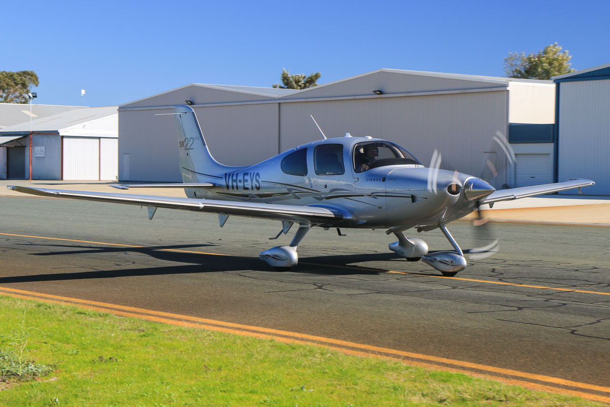 VH-EYS Cirrus SR22GTS (MSN 3448) owned by Peter Heyworth, of Bunbury, WA, at Jandakot Airport – Fri 18 July 2014. Built in 2009. Photo © David Eyre