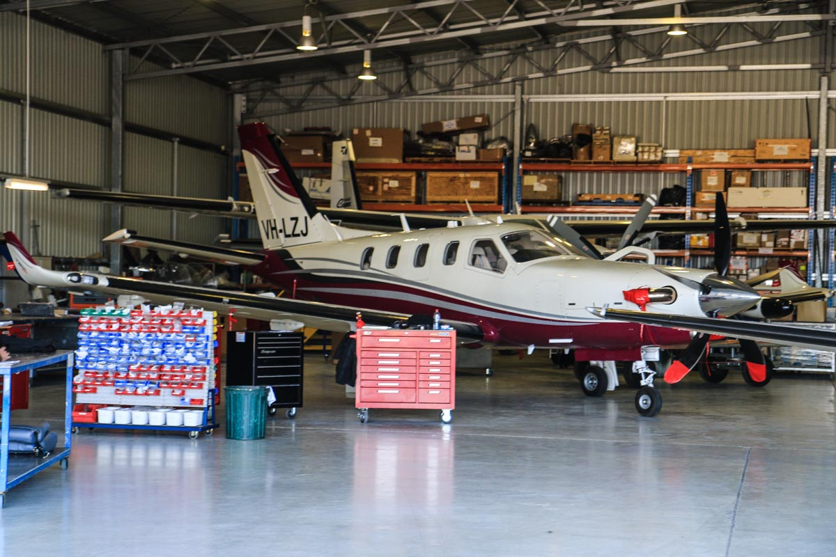 VH-LZJ SOCATA TBM 900 (MSN 1016) owned by Sarah Bely, at Jandakot Airport – Fri 18 July 2014. Brand new at the time of this photo (built 2014), registered 26 June 2014. The TBM 900 is an updated version of the TBM700N with a PT6A-66D engine, improved engine inlet, 5-bladed carbon-fibre Hartzell propeller and winglets. Photo © David Eyre