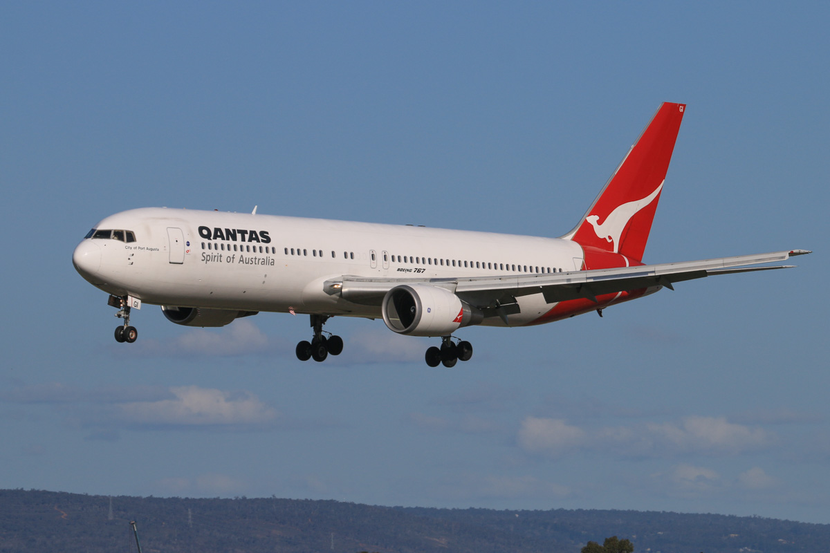 VH-OGI Boeing 767-338ER (MSN 25246/387) of Qantas, named 'City of Port Augusta', at Perth Airport – Fri 18 July 2014. Landing on runway 03 at 14:53 as flight QF651 from Brisbane. After spending millions of dollars on cabin upgrades for their 767s, Qantas is to retire the entire fleet in early 2015. Photo © David Eyre