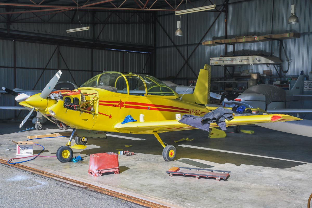 VH-RIC Victa Airtourer 115 (MSN 165) owned by Richard Davies of Coorow, WA at Jandakot Airport – Fri 18 July 2014. Built in 1966, ex (ZK-COW not taken up), VH-PHP. Photo © David Eyre