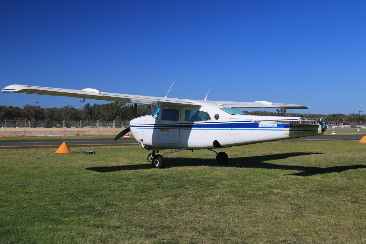 VH-STB Cessna 210M Centurion II (MSN 21062771) of Ozshore Aviation, at Jandakot Airport – Fri 18 July 2014. Tail fin and elevators removed. Converted for geophysical survey work, and normally equipped with a magnetometer tail 'stinger', used for measuring variations in the Earth's magnetic field due to changes in the magnetite content of the rock. This enables it to detect underground ore bodies. Built in 1978. Ex N6467B. Photo © David Eyre