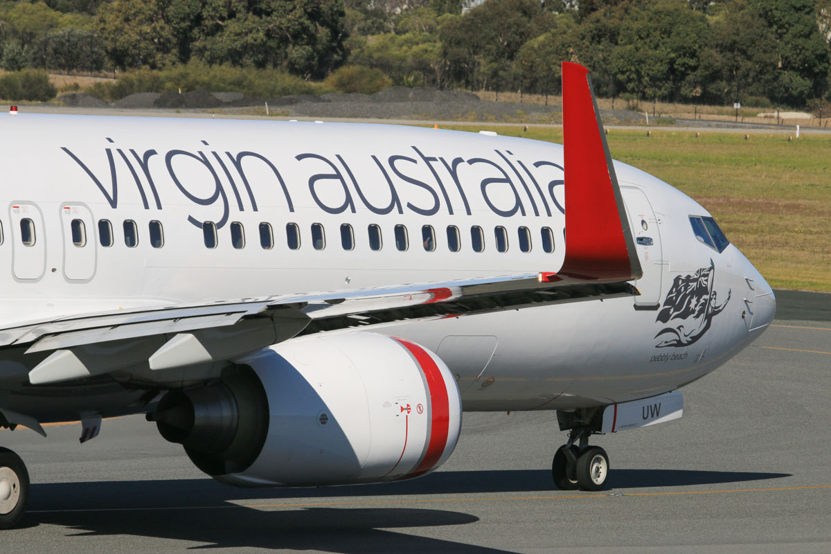 VH-VUW Boeing 737-8KG (MSN 39449/3398) named 'Pebbly Beach' of Virgin Australia, at Perth Airport – Fri 18 July 2014. Taxying to runway 03 at 14:01 as flight VA1727 to Karratha. Photo © David Eyre