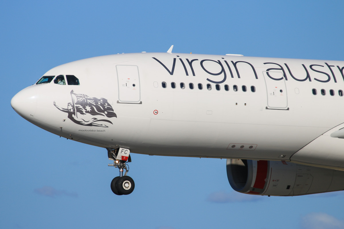 VH-XFC Airbus A330-243 (MSN 1293) of Virgin Australia, named 'Mooloolabah Beach', at Perth Airport – Fri 18 July 2014. Landing on runway 03 at 15:00 as flight VA685 from Melbourne. Photo © David Eyre