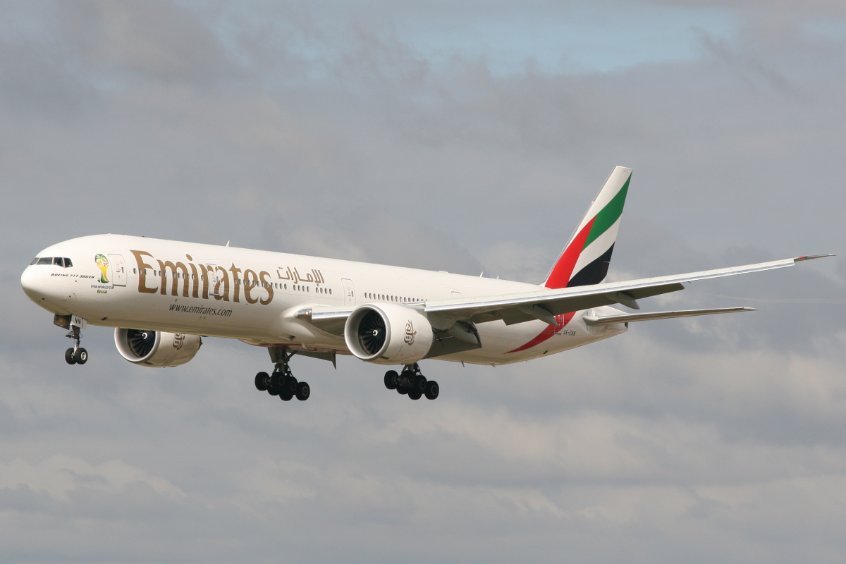 A6-ENN Boeing 777-31HER (MSN 41360) of Emirates at Perth Airport – Wed 23 July 2014