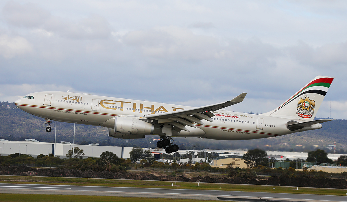 A6-EYF Airbus A330-243 (MSN 717) of Etihad Airways at Perth Airport – Wed 23 July 2014