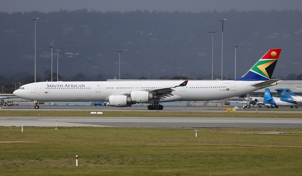 ZS-SNE Airbus A340-642 (MSN 534) of South African Airways at Perth Airport – Fri 25 July 2014
