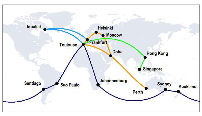 Map showing A350 route proving trials