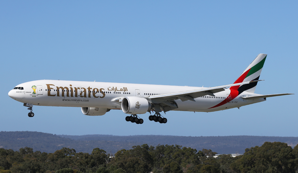 A6-EGZ Boeing 777-31HER (MSN 41081) of Emirates at Perth Airport – Friday 1 August 2014.