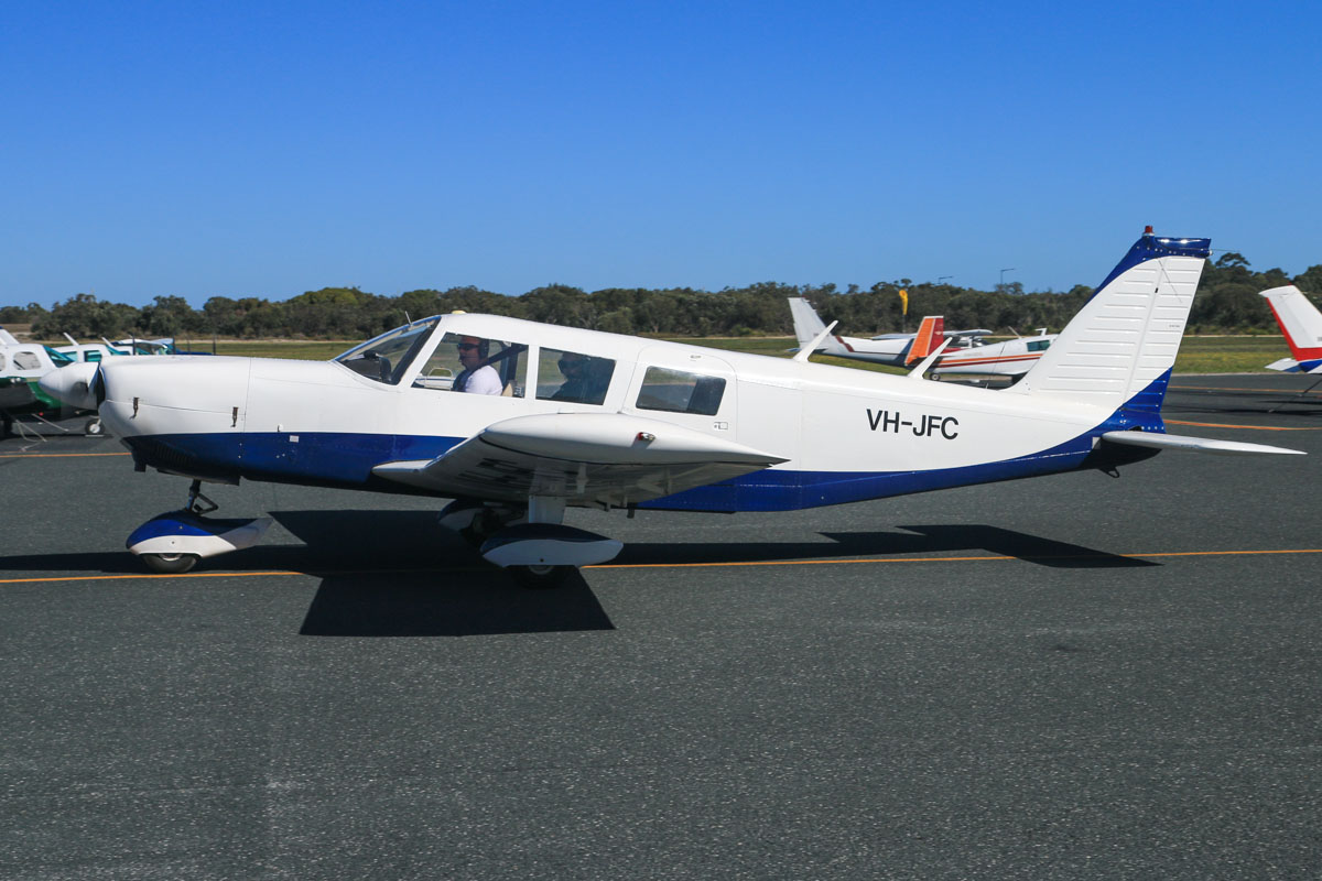 VH-JFC Piper PA-32-260 Cherokee Six (MSN 32-7100025) owned by Cavendish Capital Management Pty Ltd, at Jandakot Airport - Sun 3 August 2014. Built in 1971, ex N666SS, ZK-DGZ. Formerly operated by Jandakot Flight Centre (hence the registration JFC). Photo © David Eyre