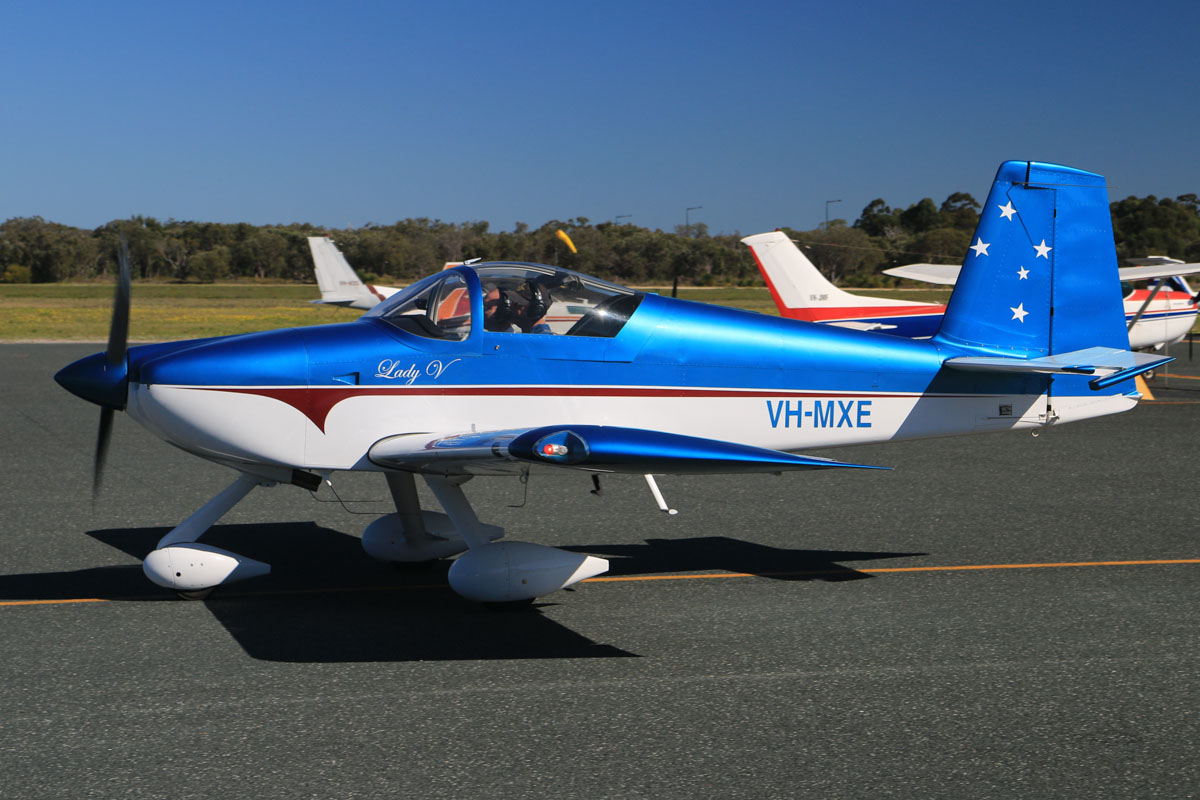 VH-MXE Vans RV-7A (MSN 72100) named 'Lady V', owned by Malcolm Vivian, at Jandakot Airport - Sun 3 August 2014. Built in 2011. This went up for a formation flight with Vans RV-7 VH-XRP. Photo © David Eyre