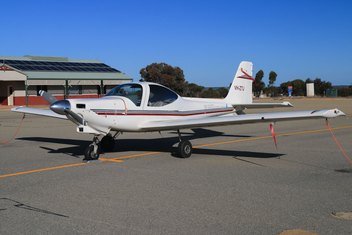VH-ZTJ Grob G-115C2 (MSN 82051/C2) of China Southern West Australian Flying College, at Merredin Airport - Sun 3 August 2014. The college owns and operates Merredin aerodrome and has another base at Jandakot. Photo © David Eyre
