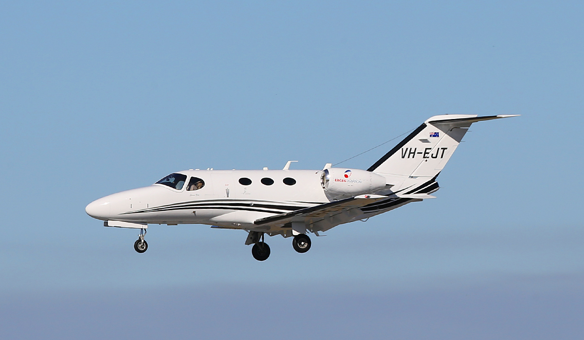 VH-EJT Cessna 510 Citation Mustang (MSN 510-0214) of Erceg Aviation, named 'Sienna Rose', at Perth Airport – Wed 6 Aug 2014.
