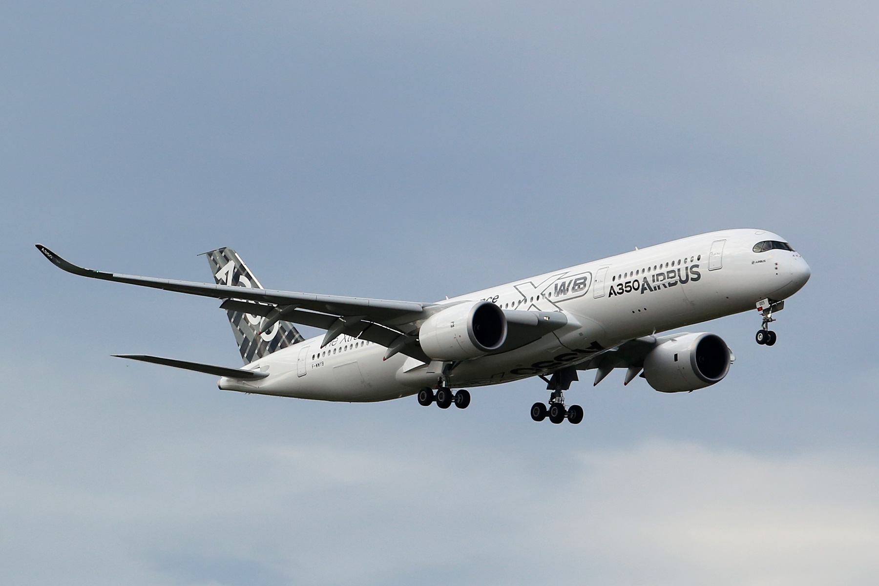 F-WWYB Airbus A350 at Perth Airport – Sunday 10 August 2014 On short finals to runway 21 at 3:11 pm Photo © Matt Hayes
