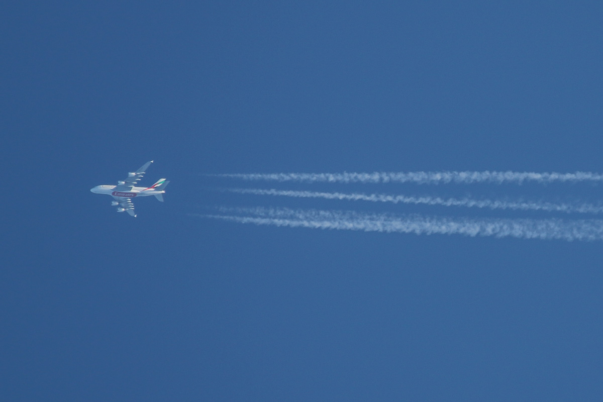A6-EEV Airbus A380-861 (MSN 150) of Emirates, over Perth – Mon 11 August 2014. Flight EK414 from Dubai to Sydney flying eastwards over Perth at 576 knots (1067 kilometres per hour) at 39,000 feet at 4:42pm. It took off from Dubai at 7:12am (Perth time) and landed at Sydney at 8:02pm (Perth Time). Photo © David Eyre