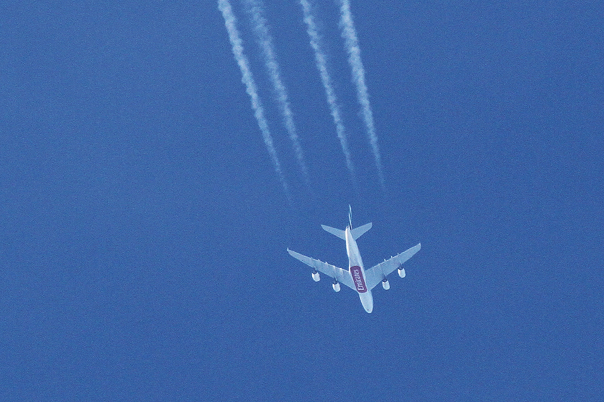 A6-EEV Airbus A380-861 (MSN 150) of Emirates over Perth Airport