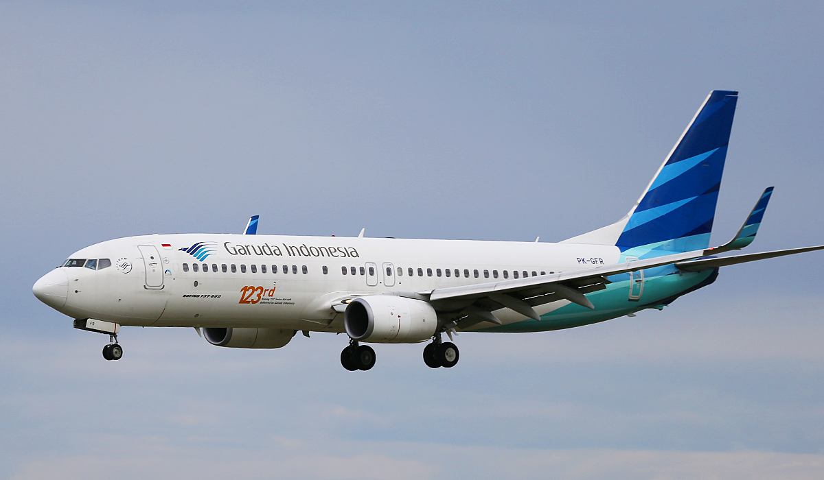 """PK-GFR Boeing 737-81D (MSN 39417/3802) Garuda Indonesia, with """"123rd Boeing 737 Series Aircraft delivered to Garuda Indonesia"""" titles at Perth Airport – Tues 12 Aug 2014."""