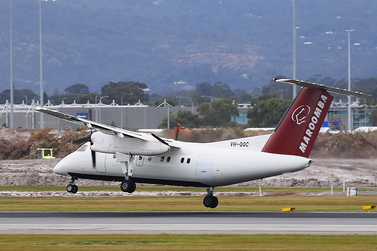 VH-QQC De Havilland Canada DHC-8-102 Dash 8 (MSN 008) of Maroomba Airlines (leased from Skytrans), at Perth Airport - Tues 12 Aug 2014.