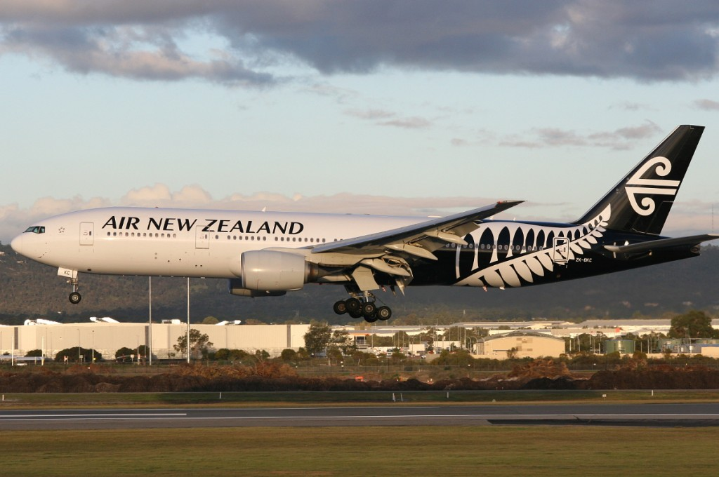 ZK-OKC Boeing 777-219ER (MSN 34377/546) of Air New Zealand, at Perth Airport – Wed 20 Aug 2014.