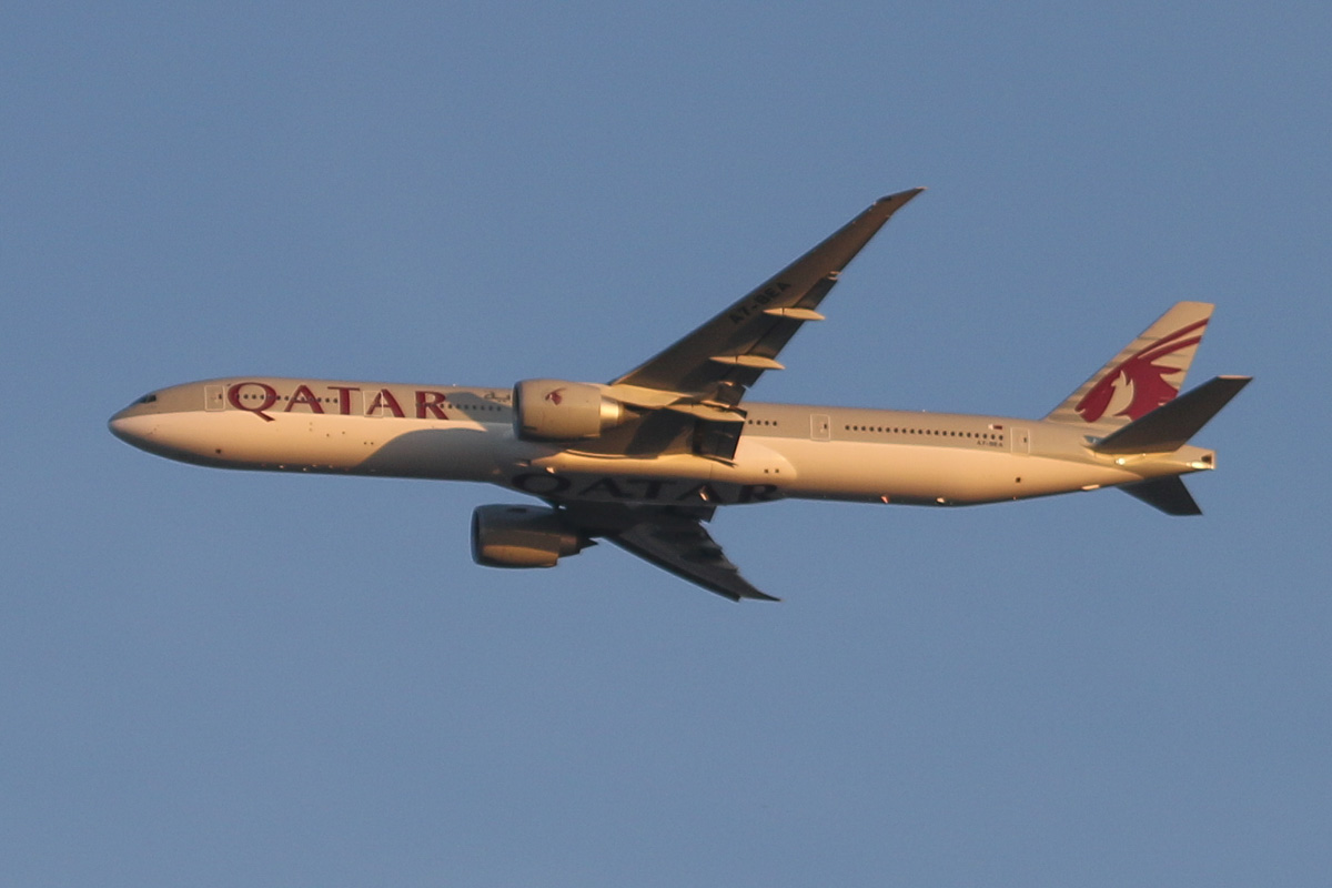 A7-BEA Boeing 777-3DZER (MSN ) of Qatar Airways, over the northern suburbs of Perth - Sat 23 August 2014. First visit to Perth. Flight QR900 from Doha at 3,000 feet over the northern suburbs at 5:34pm, heading north east before turning right to approach Perth Airport's runway 21. Photo © David Eyre