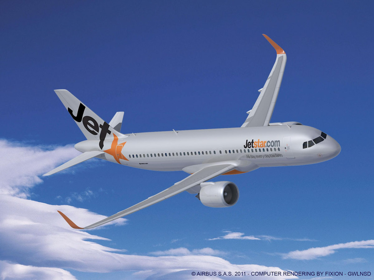 Airbus A320neo of Jetstar. Artists impression copyright Airbus.