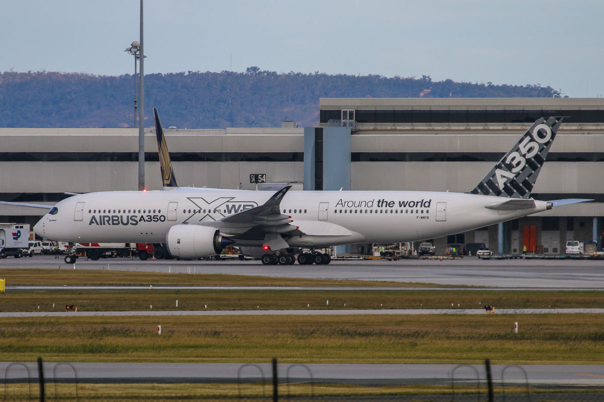 F-WWYB Airbus A350-941 (MSN 005) owned by Airbus, at Perth Airport – Sunday 10 August 2014 First visit to Perth by an A350. This is the 5th development aircraft, which landed on Perth Airport's runway 21 from Doha (Qatar) at 3:15pm, using callsign 'AIRBUS 402', signifying that it was the second flight in the fourth series of route proving flights. Seen here taxying to park at Bay 56 at 3:23 pm. It departed back to Doha at 11:17pm as 'AIRBUS 403', before continuing on to Moscow (Russia) and Helsinki (Finland), then back to Toulouse. F-WWYB completed its Route Proving trials from 24 July to 13 August 2014. Route Proving trials are required as part of Type Certification, to demonstrate the A350's readiness for airline operations. Photo © David Eyre