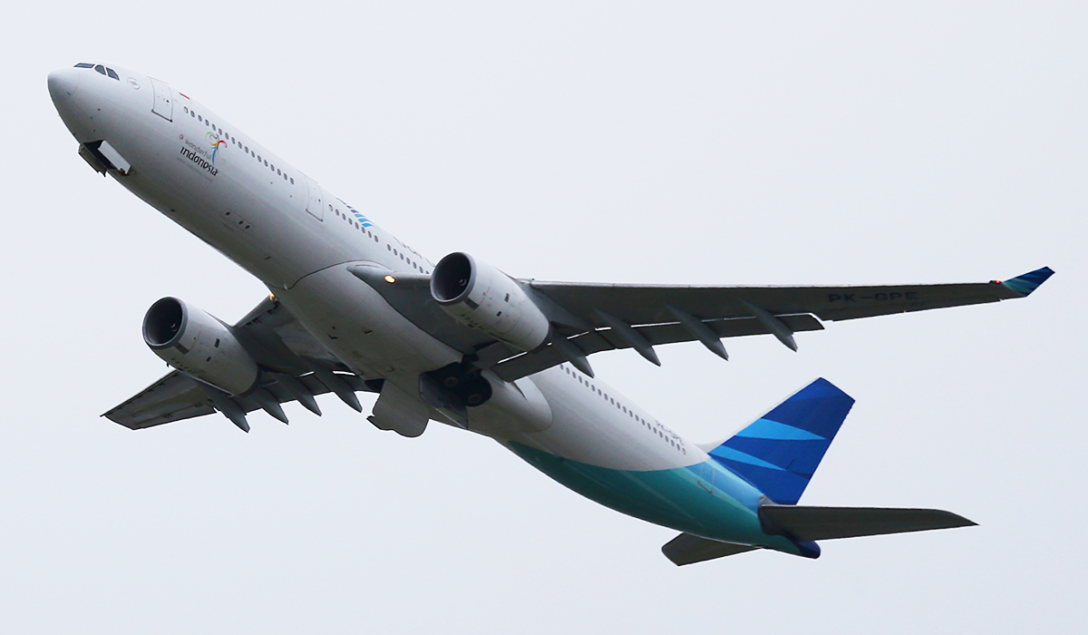 PK-GPE Airbus A330-341 (MSN 148) of Garuda Indonesia at Perth Airport – Tues 2 Sept 2014