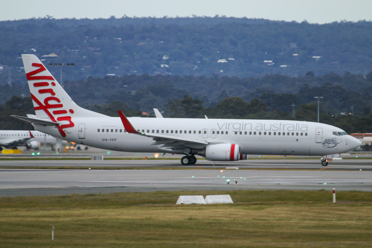 VH-YFF Boeing 737-8FE (MSN 40994/3664) of Virgin Australia, (named 'Wineglass Bay', not painted on aircraft), at Perth Airport – Tue 2 September 2014. Flight VA1723 to Karratha, crossing runway 06 at 6:50am, before taking off from runway 03 at 6:54am. Photo © David Eyre