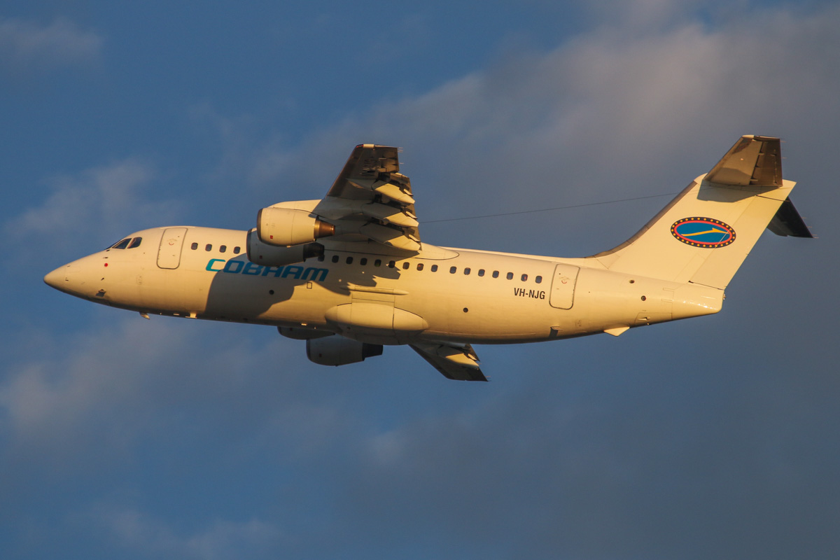 VH-NJG British Aerospace 146-200 (MSN E2170) of Cobham Aviation at Perth Airport – Wed 3 September 2014. 'JETEX 754' to Murrin-Murrin, seen after takeoff from runway 21 at 6:55am. Photo © David Eyre.