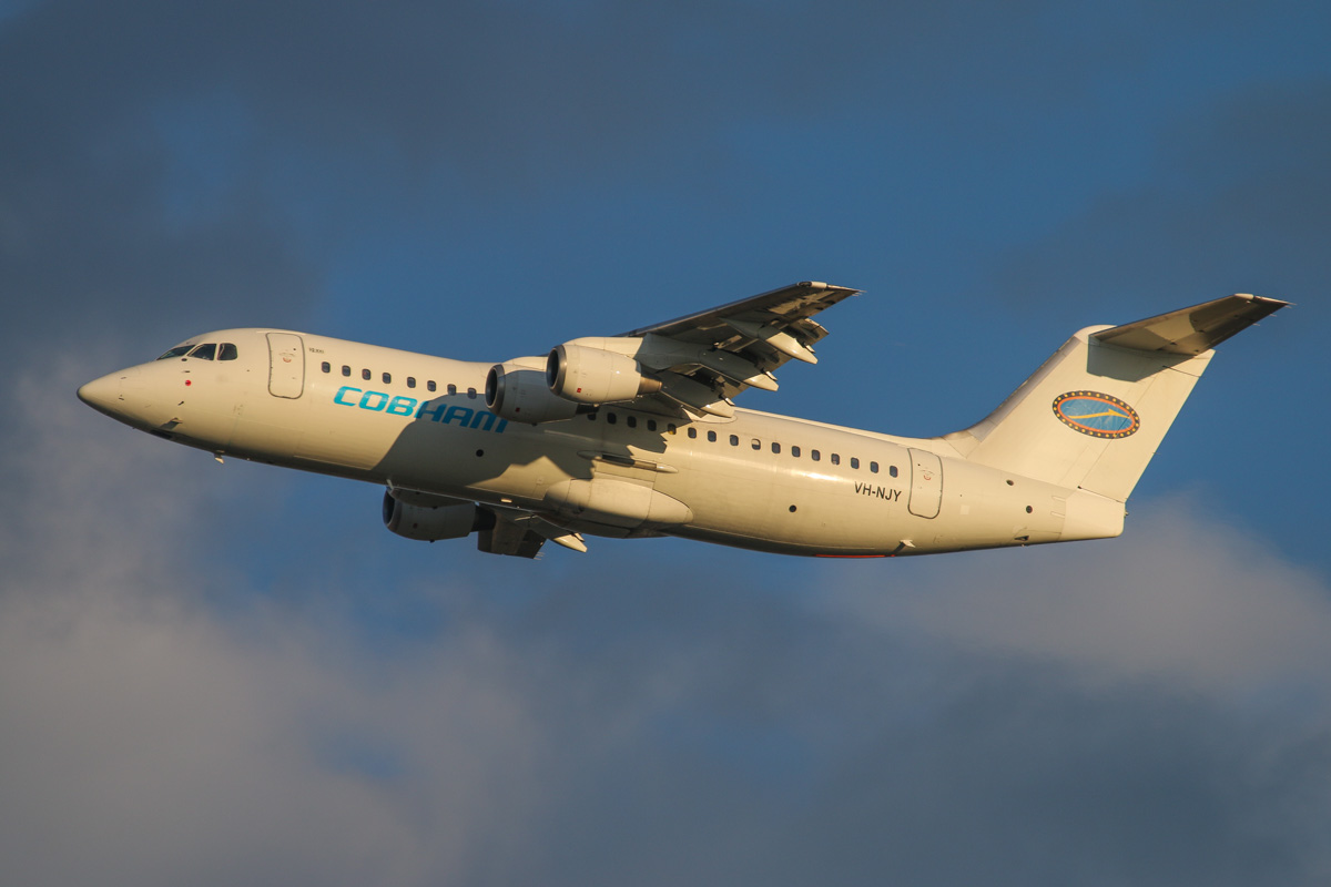 VH-NJY BAE Systems Avro RJ100 (MSN E3331) of Cobham Aviation at Perth Airport - Wed 3 September 2014. 'JETEX 1992' to Barrow Island, after takeoff from runway 21 at 7:10am. Photo © David Eyre