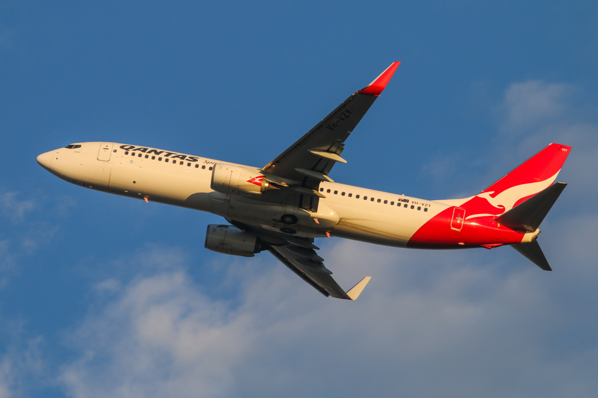 VH-VZY Boeing 737-838 (MSN 39363/3944) of Qantas, named 'Temora', at Perth Airport – Wed 3 September 2014. QF590 to Adelaide, seen after takeoff from runway 21 at 6:58am. Photo © David Eyre