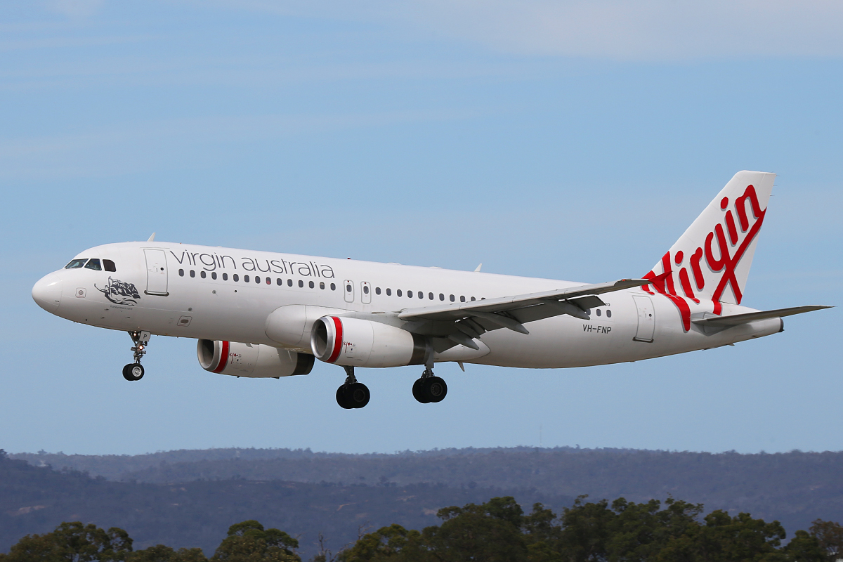 "VH-FNP Airbus A320-231 (MSN 429) of Virgin Australia Regional Airlines, named ""Honeymoon Cove"" at Perth Airport – Thurs 4 Sept 2014."