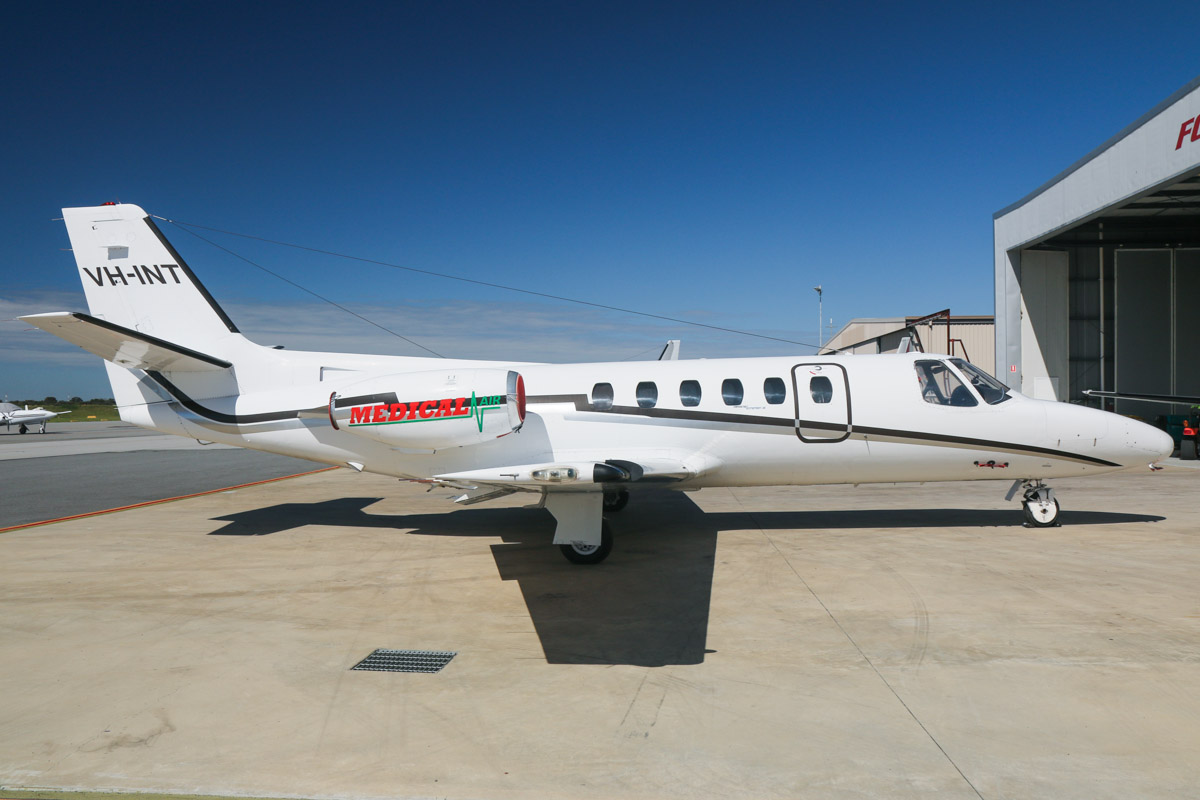 VH-INT Cessna 550 Citation II (MSN 550-0102) of Medical Air (owned by Revesco Aviation) at Jandakot Airport – Fri 5 September 2014. This Citation recently had 'Medical Air' titles applied for use as an air ambulance / medivac aircraft. Ex N2664Y, VH-WNP, VH-JCG, VH-JPG, VH-OYC. Photo © David Eyre