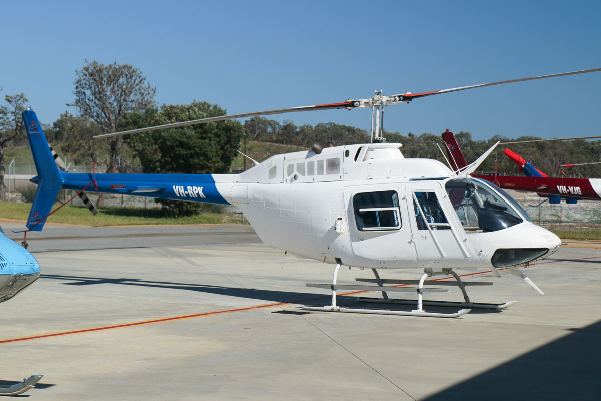 VH-RPK Bell 206B JetRanger III (MSN 2626) of Heliwest, at Jandakot Airport - Fri 5 September 2014. This was formerly operating as a news helicopter under contract to Channel Ten, flying from their studios in Dianella, Perth. Photo © David Eyre