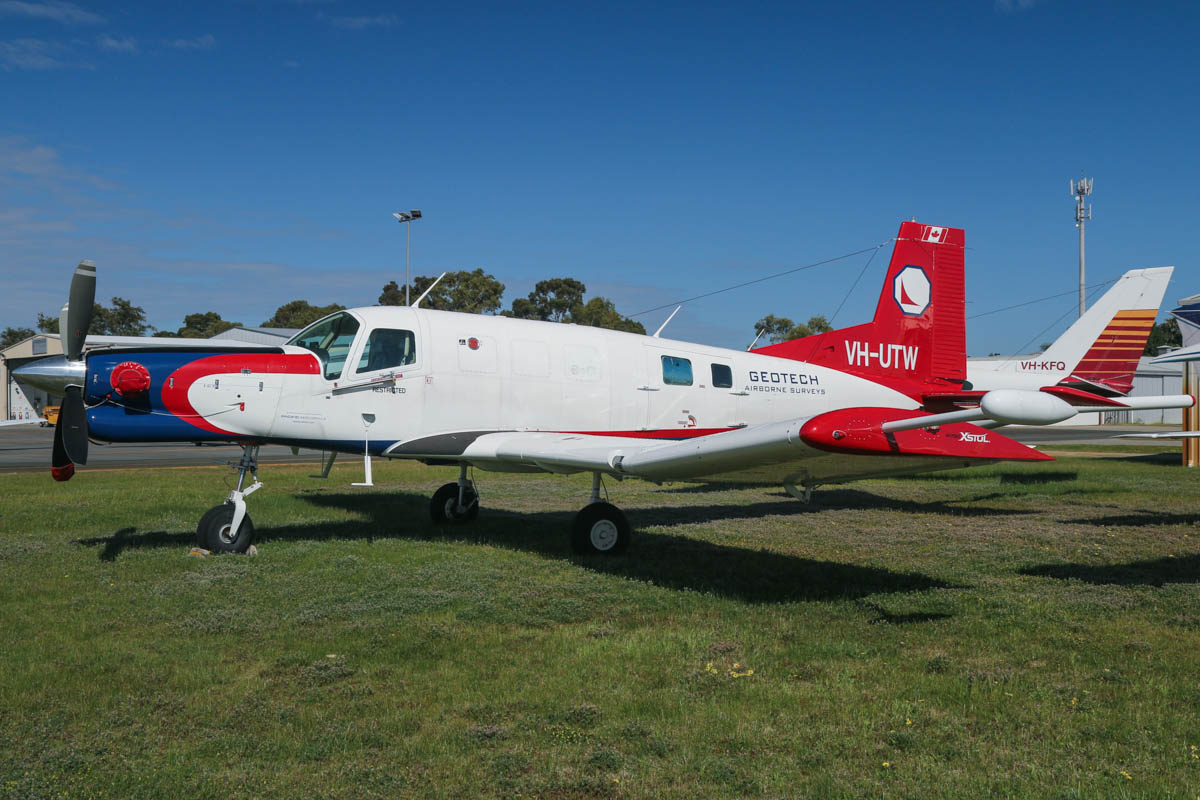 VH-UTW Pacific Aerospace PAC750XL XSTOL (MSN 187, ex ZK-KCI) of UTS Aviation / Geotech Airborne Surveys at Jandakot Airport - Fri 5 September 2014. Converted for geophysical survey, with tail- and wing-mounted magnetometers. Photo © David Eyre