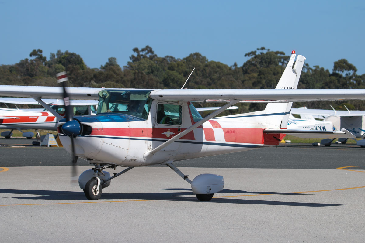 VH-UWC Cessna A152 Aerobat (MSN A1520849, ex N4633A) of the Royal Aero Club of Western Australia Inc, at Jandakot Airport - Fri 5 September 2014. This aircraft was once operated by University Flying Club. The Royal Aero Club has started to refurbish its Cessna A152 fleet to near new condition, and VH-UWC seems to be in desperate need of refurbishment. Photo © David Eyre