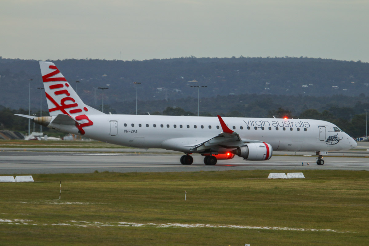 VH-ZPA Embraer 190AR (ERJ-190-100IGW) (MSN 19000148) of Virgin Australia, named 'Apollo Beach' at Perth Airport - Fri 5 September 2014. Flight VA1849 to Kalgoorlie, lining up on runway 06 for takeoff at 7:21am. Photo © David Eyre