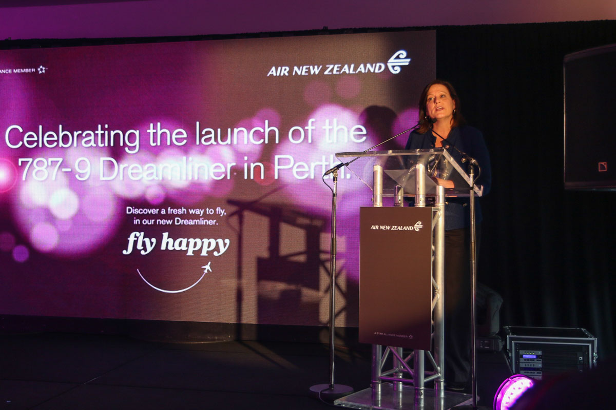 Alison Bone, Communications Director for Boeing Australia, speaking at the official celebration for the launch of Air New Zealand's Boeing 787-9 Dreamliner services to Perth, also the first visit by a 787 to Perth. Photo © David Eyre