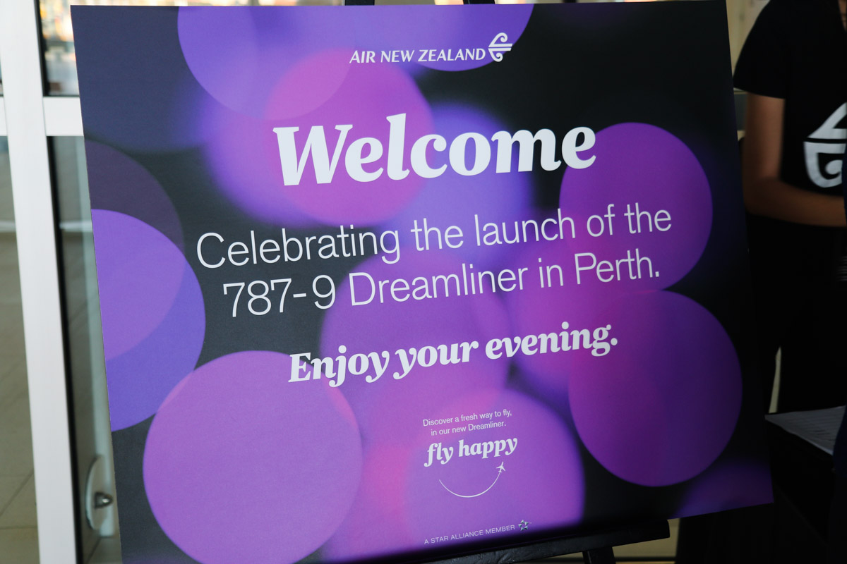 Welcome sign for the official celebration for the launch of Air New Zealand's Boeing 787-9 Dreamliner services to Perth, also the first visit by a 787 to Perth. Photo © David Eyre