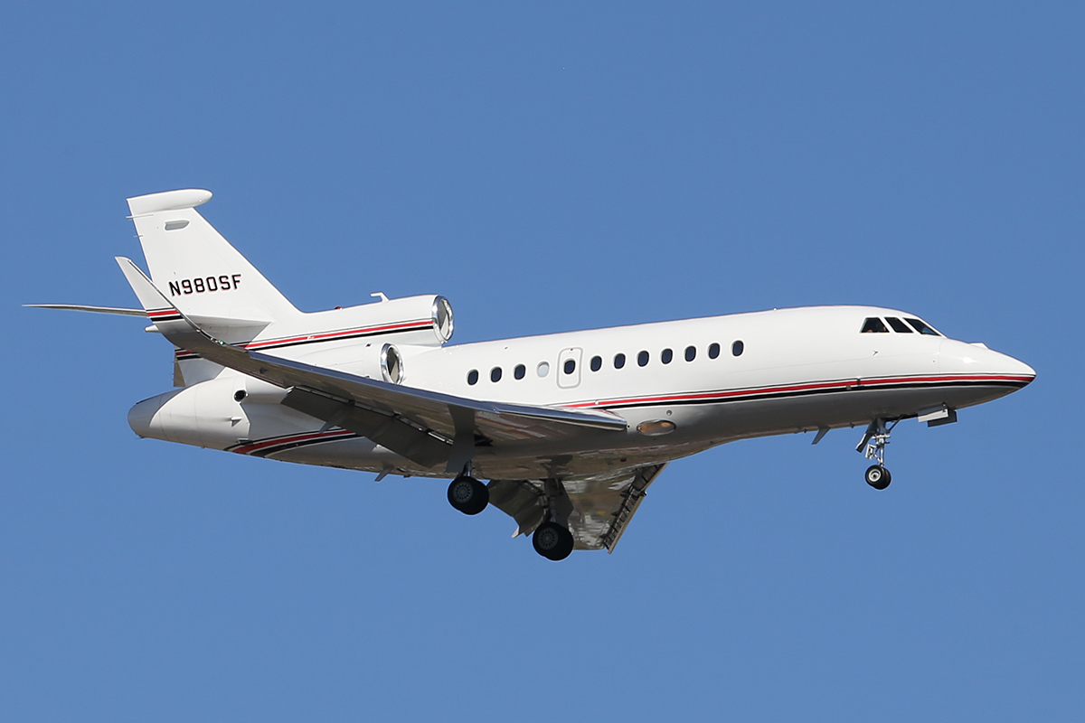 N980SF Dassault falcon 900EX (MSN 224) of Wells Fargo Bank at Perth Airport – 12 Sept 2014.