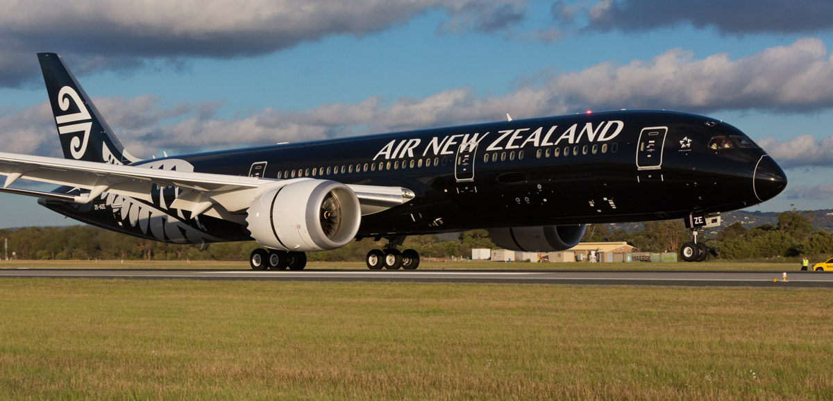 ZK-NZE Boeing 787-9 Dreamliner (MSN 34334/169) of Air New Zealand, in special all-black livery, at Perth Airport – Fri 12 Sept 2014. The first visit to Perth by a Boeing 787 Dreamliner, landing on runway 24 at 5:22 pm (40 minutes early), as flight NZ175 from Auckland. It departed Perth back to Auckland at 9:26pm as NZ176. At the time of this photo, ZK-NZE was the only 787 delivered to Air New Zealand. Photo © Air New Zealand - used with permission.