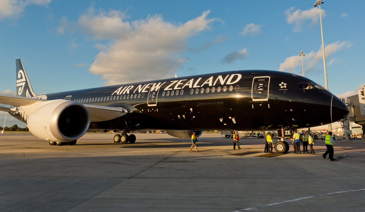 ZK-NZE Boeing 787-9 Dreamliner (MSN 34334/169) of Air New Zealand, in special all-black livery, at Perth Airport – Fri 12 Sept 2014. The first visit to Perth by a Boeing 787 Dreamliner, parked at Bay 51 at Terminal 1, after landing on runway 24 at 5:22 pm (40 minutes early), as flight NZ175 from Auckland. It departed Perth back to Auckland at 9:26pm as NZ176. At the time of this photo, ZK-NZE was the only 787 delivered to Air New Zealand. Photo © Air New Zealand - used with permission.