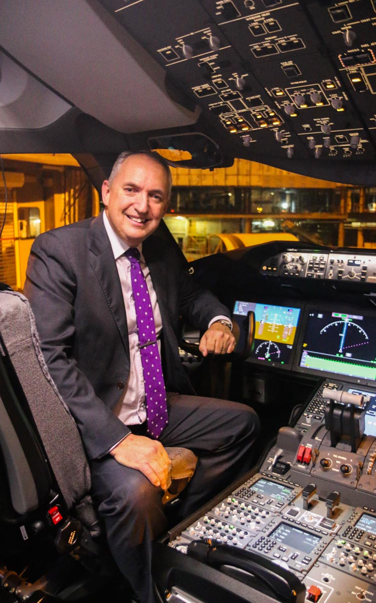 Captain David Morgan, Air New Zealand's Chief Pilot, on the flight deck of ZK-NZE Boeing 787-9 Dreamliner (MSN 34334/169) of Air New Zealand, at Perth Airport – Fri 12 Sept 2014. The first visit to Perth by a Boeing 787 Dreamliner. Captain Morgan has been with Air New Zealand since 1985, and delivered the airline's first 787-9 from Seattle to Auckland. Photo © David Eyre