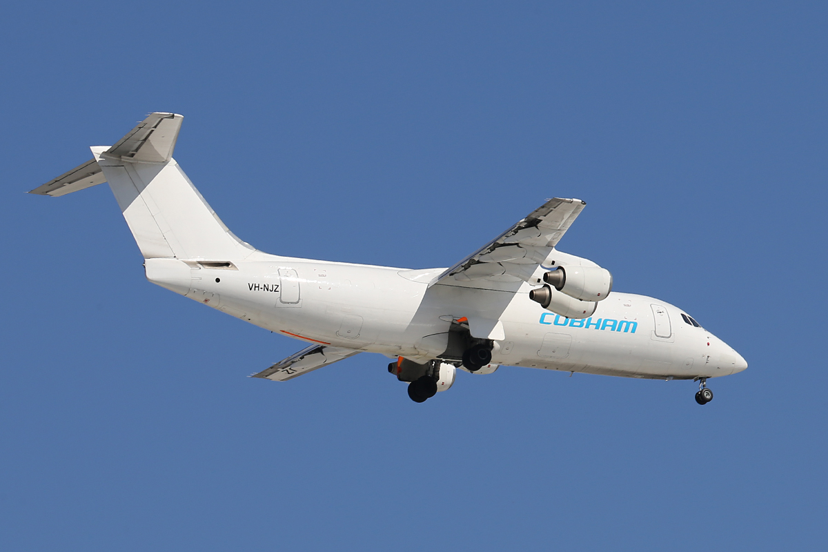 VH-NJZ BAe 146 – 300 (MSN E3126) of Cobham Freight at Perth Airport – Sat 14 June 2014.