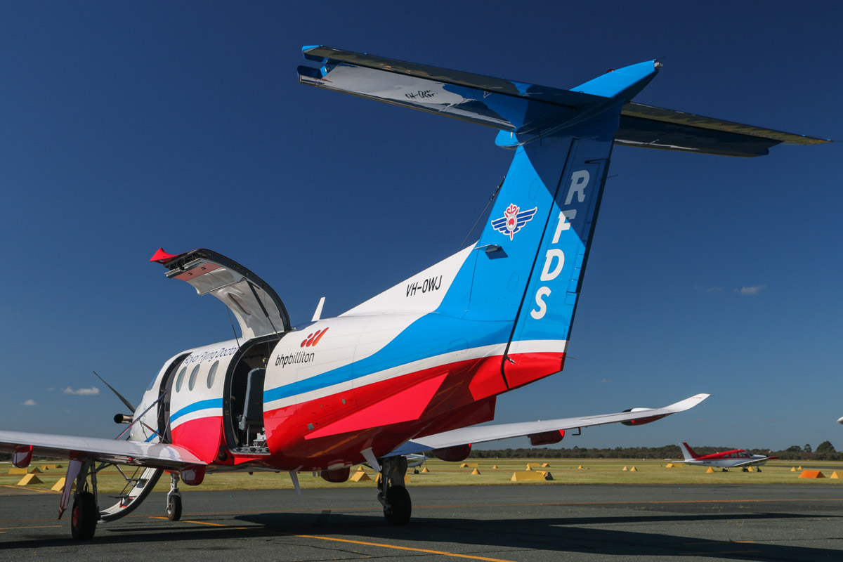 VH-OWJ Pilatus PC-12-47E (MSN 1411, ex HB-FSK) of the Royal Flying Doctor Service (Western Operations), at Jandakot Airport - Sat 13 September 2014. Photo © David Eyre